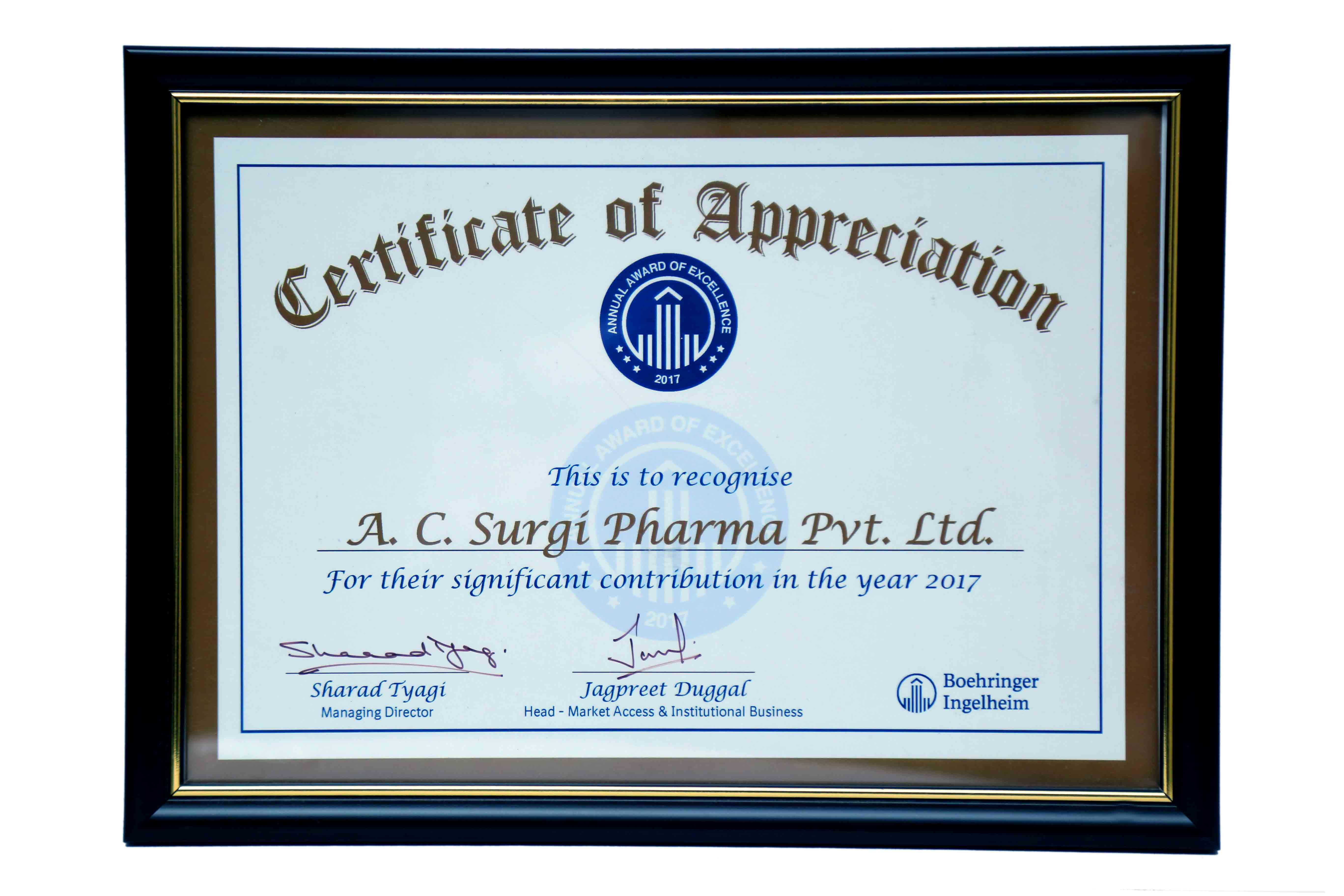 Certificate of Appreciation By Boehringer Ingelhiem