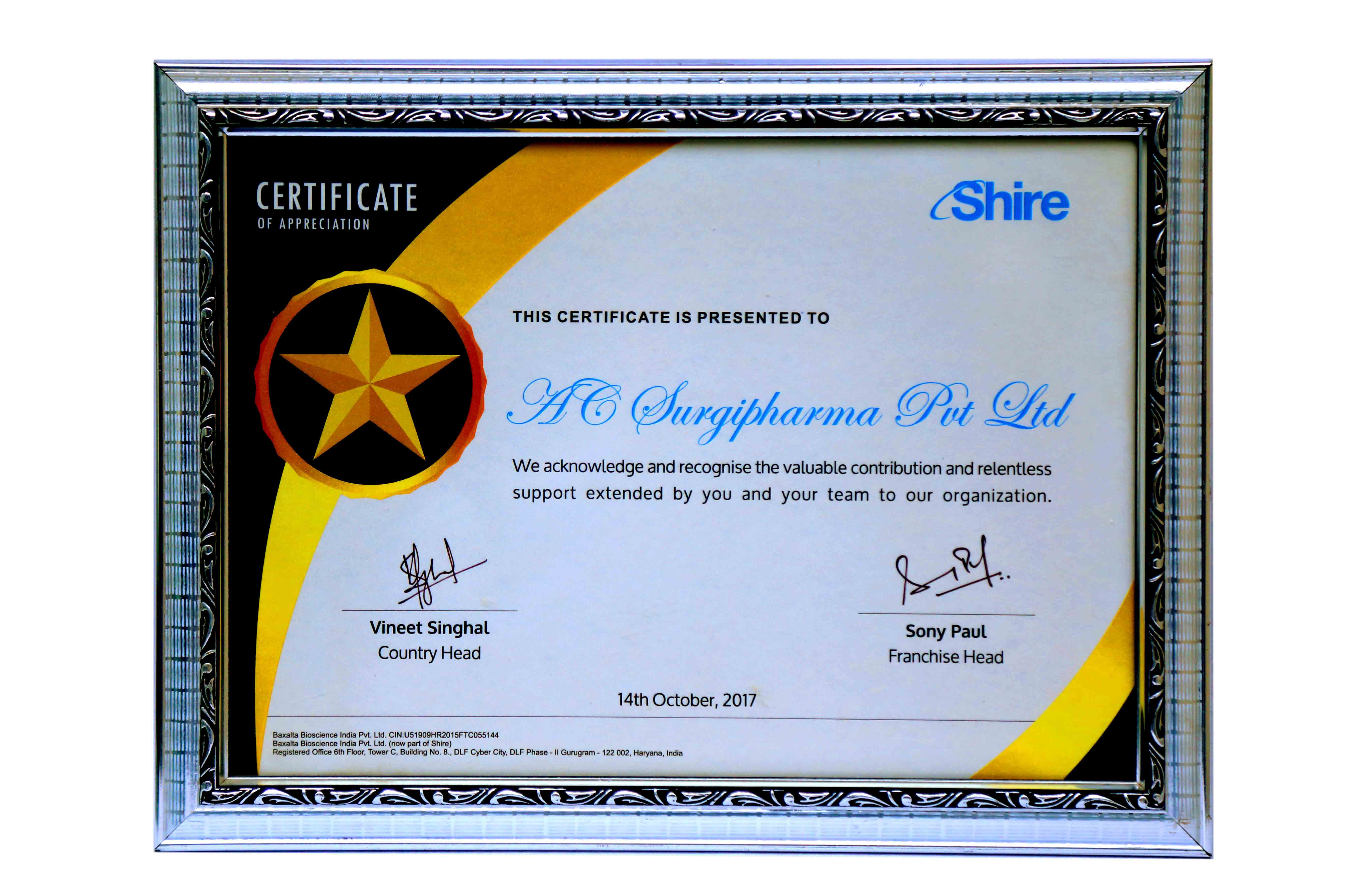 Certificate of Appreciation By Shire