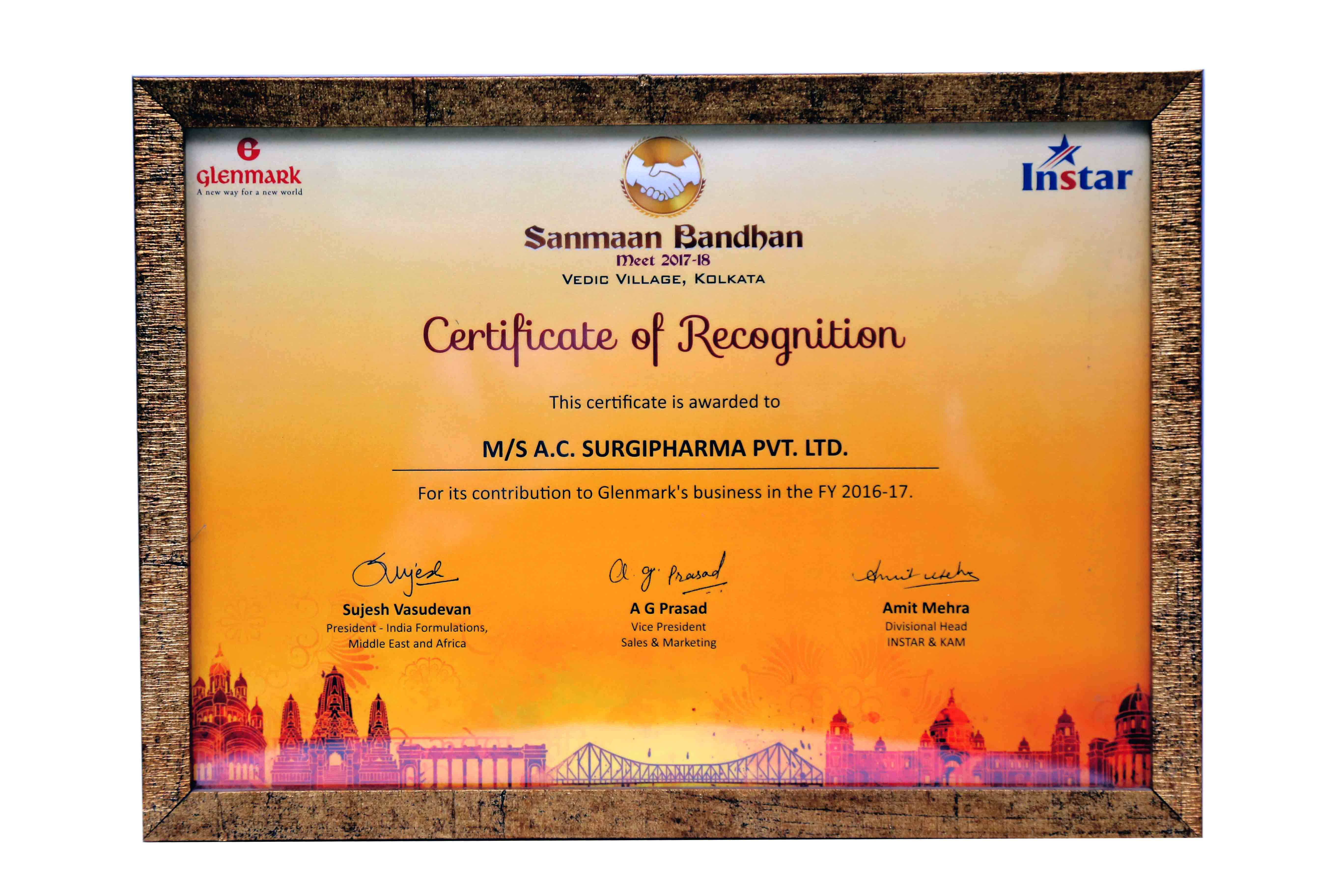 Certificate of Recognition (Sanmaan Bandhan) By Glenmark