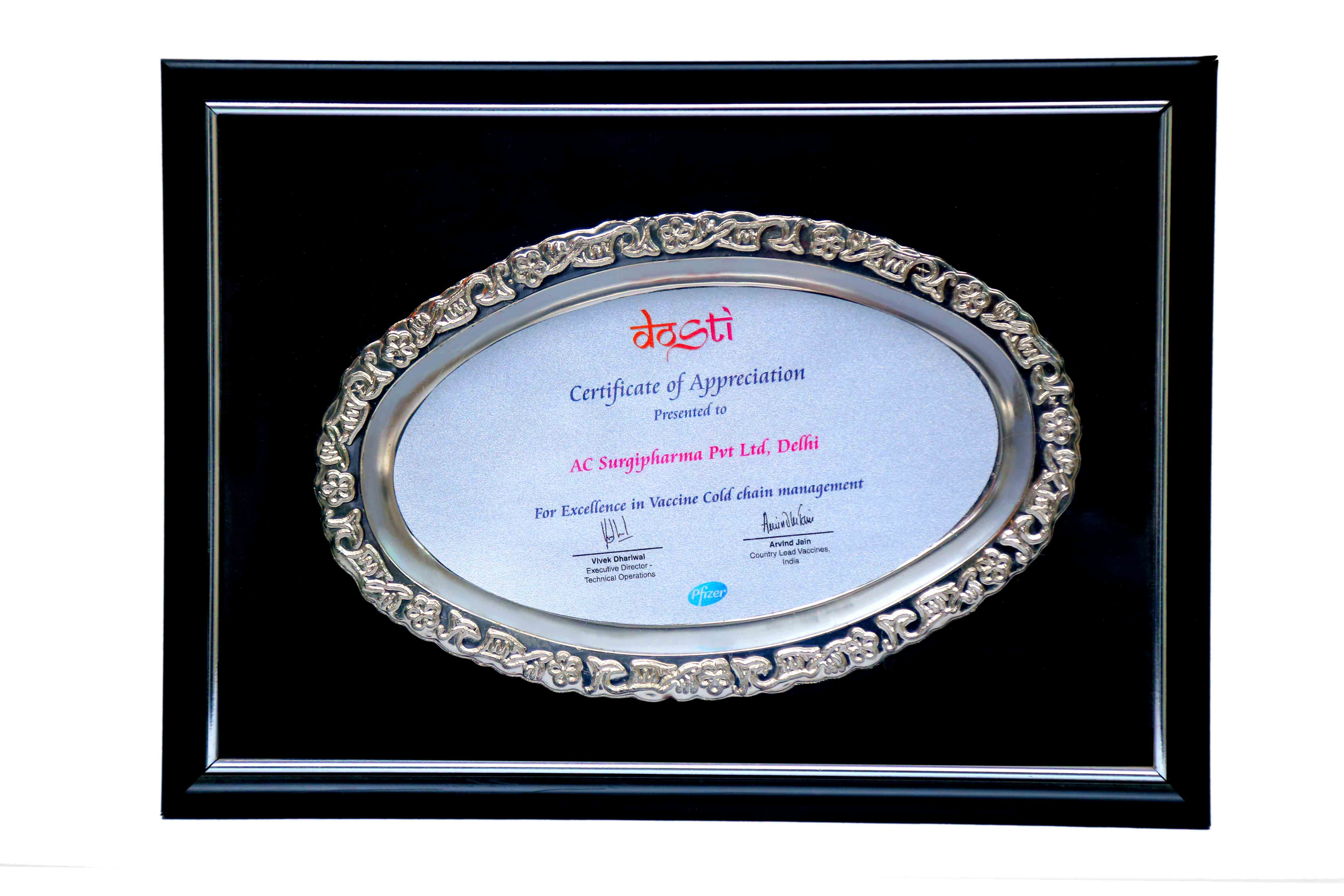 Certificate of Appreciation By Pfizer