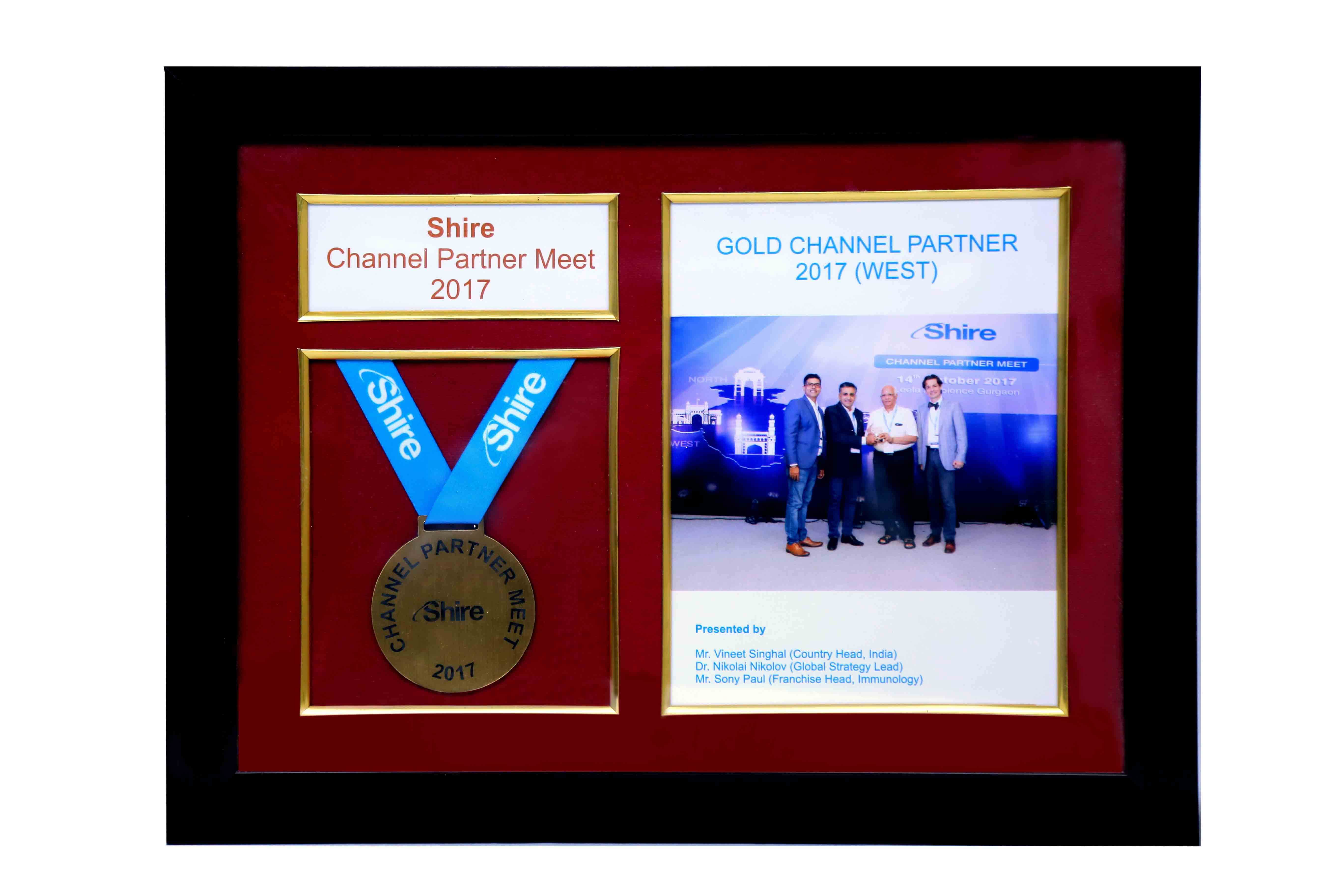 Award for Gold Channel Partner By Shire