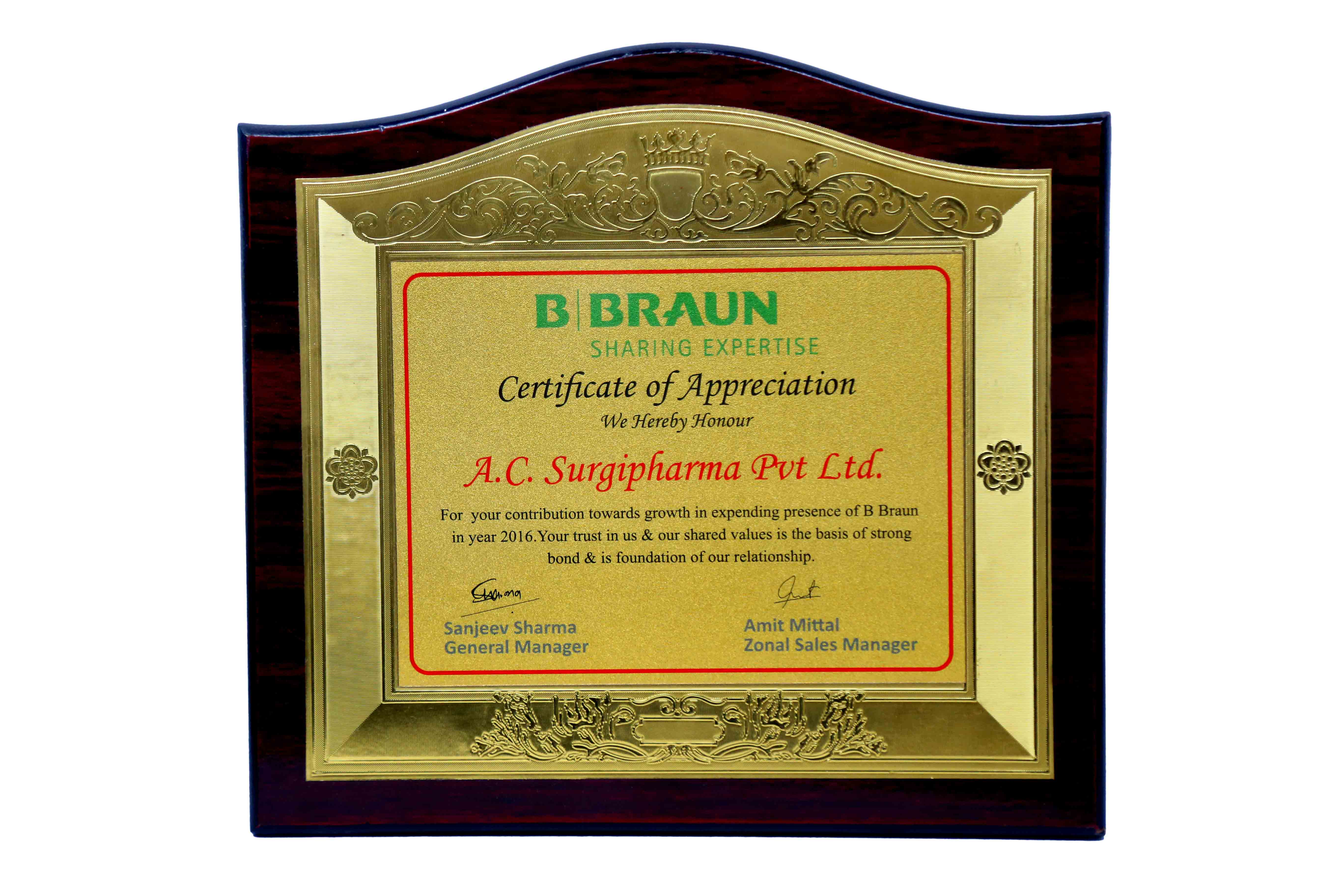 Certificate of Appreciation By Braun
