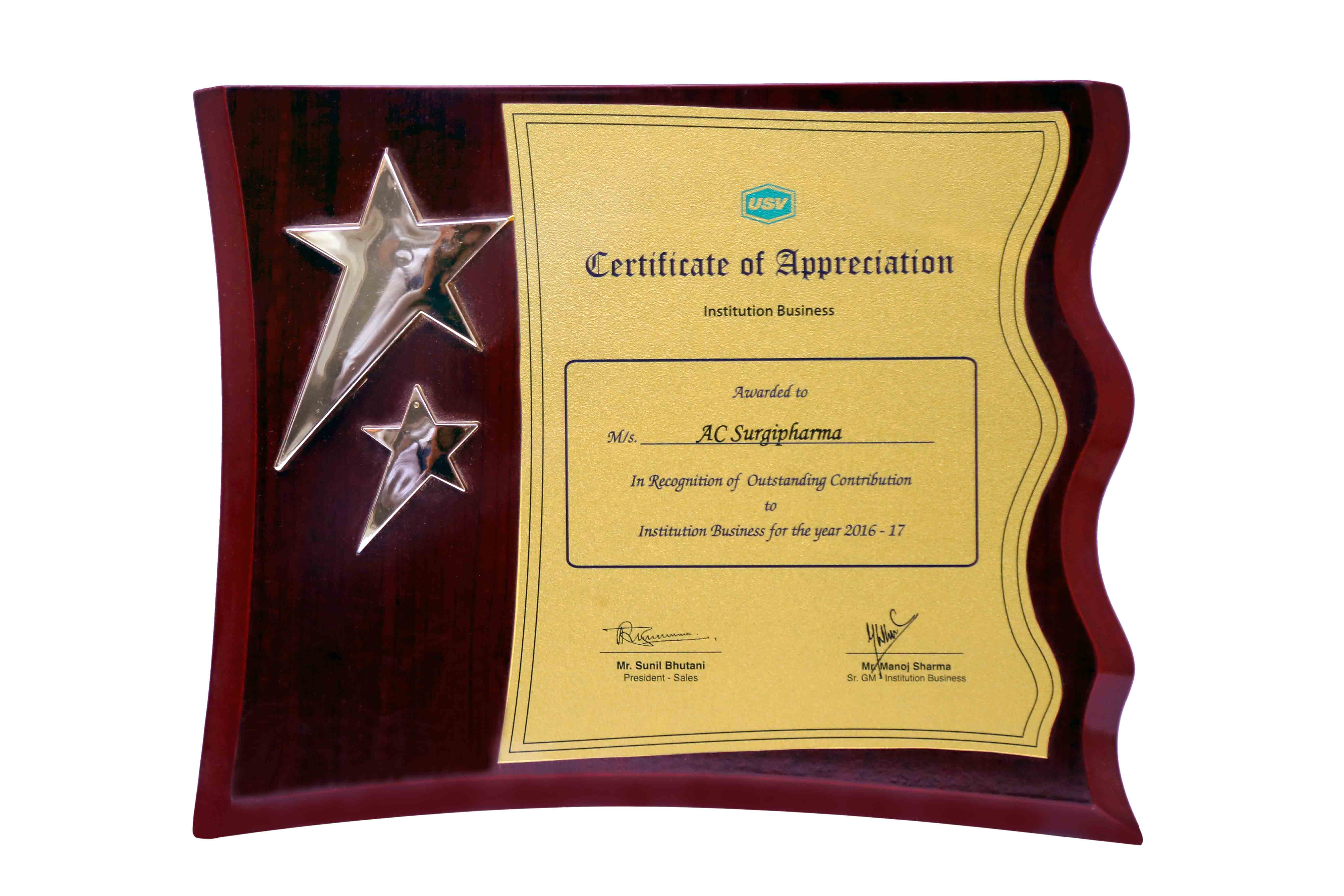 Certificate of Appreciation By USV