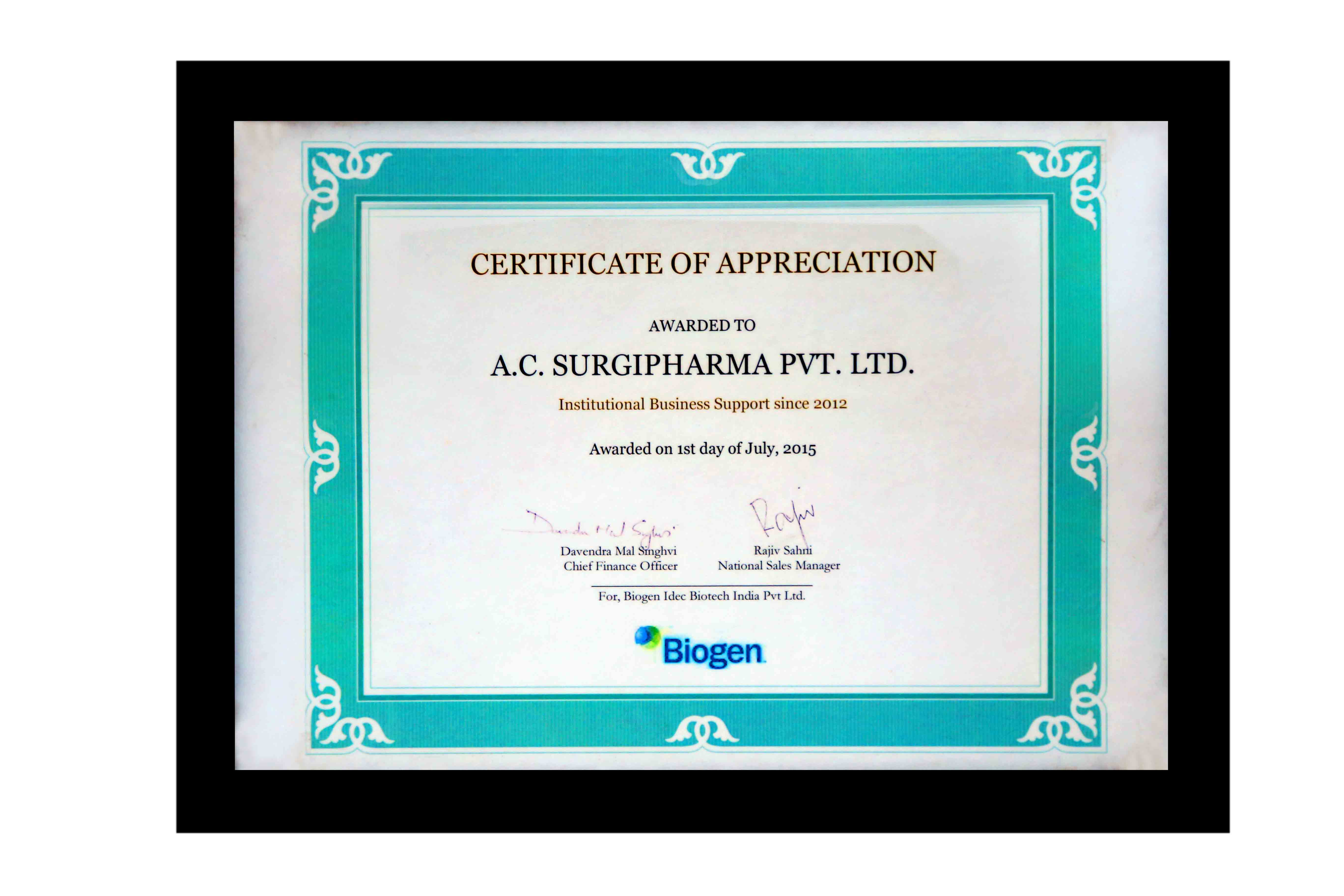 Certificate of Appreciation By Biogen