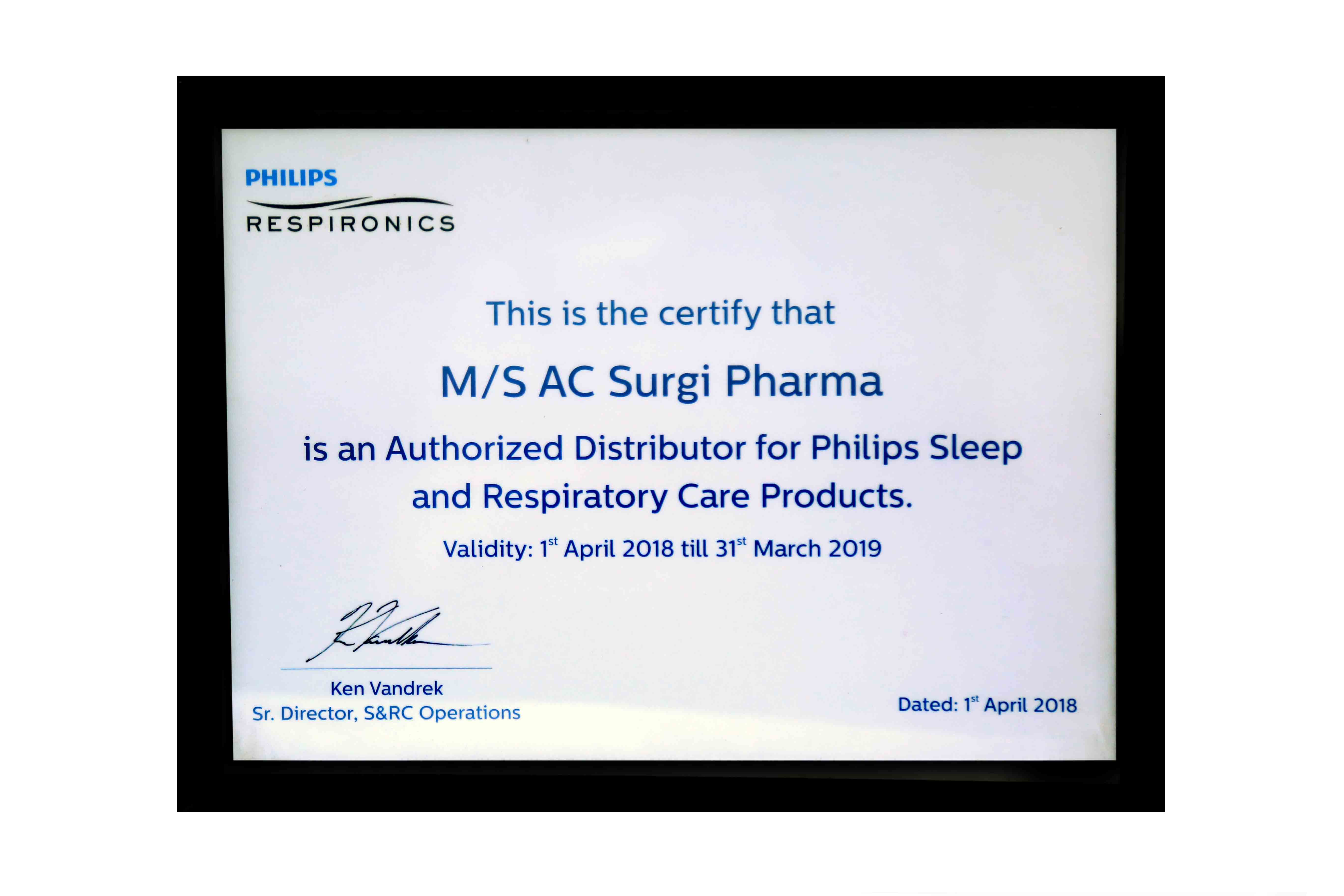 Certification for Authorised Distributor By Philips