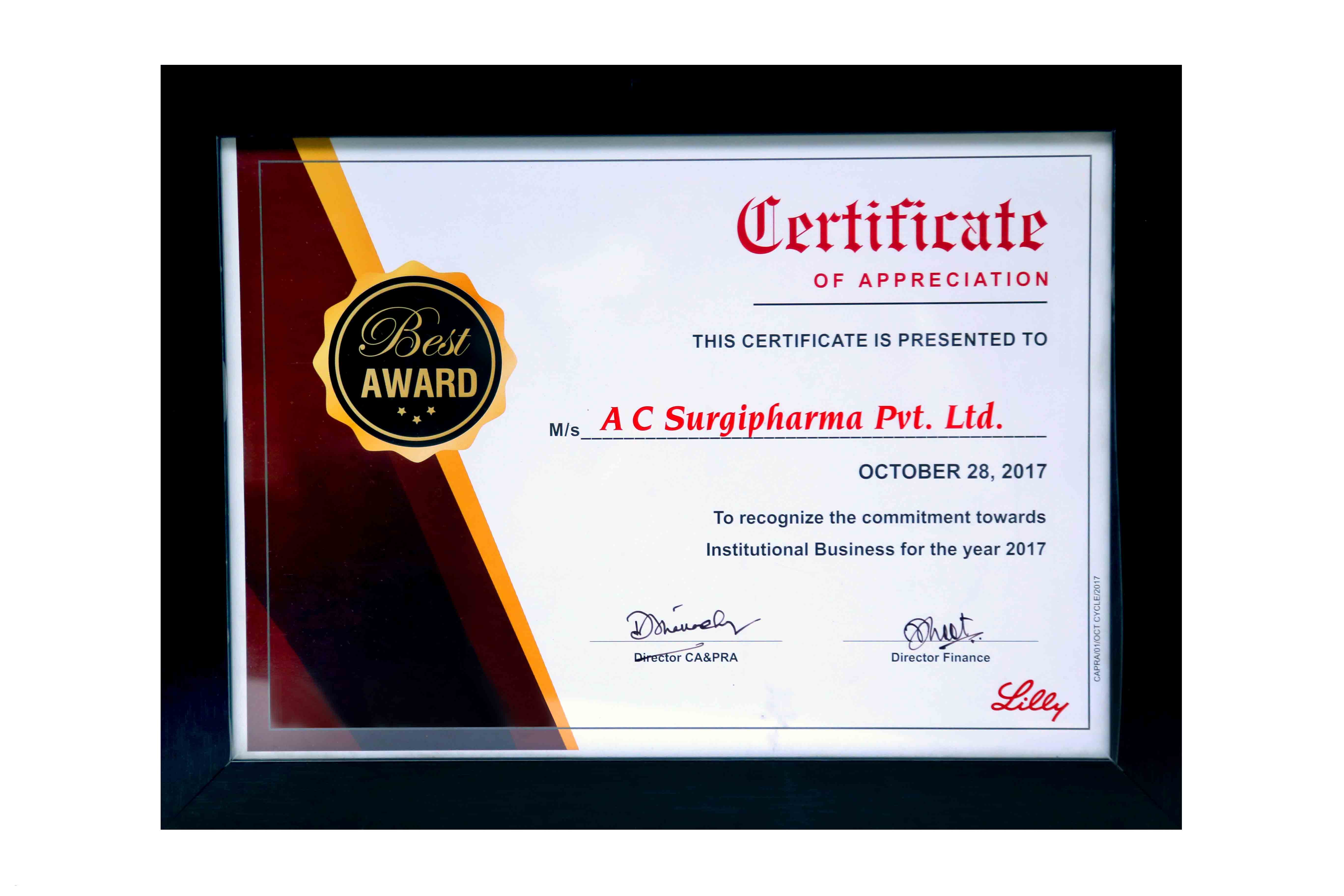 Certificate of Appreciation By Lilly